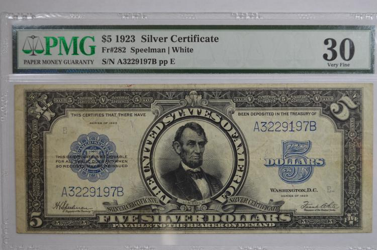 $5.00 Series of 1923 Silver Certificate, Fr-282. PMG VF30