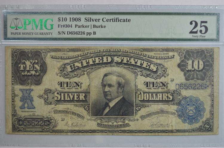 $10.00 Series of 1908 Silver Certificate, Fr-304. PMG VF25