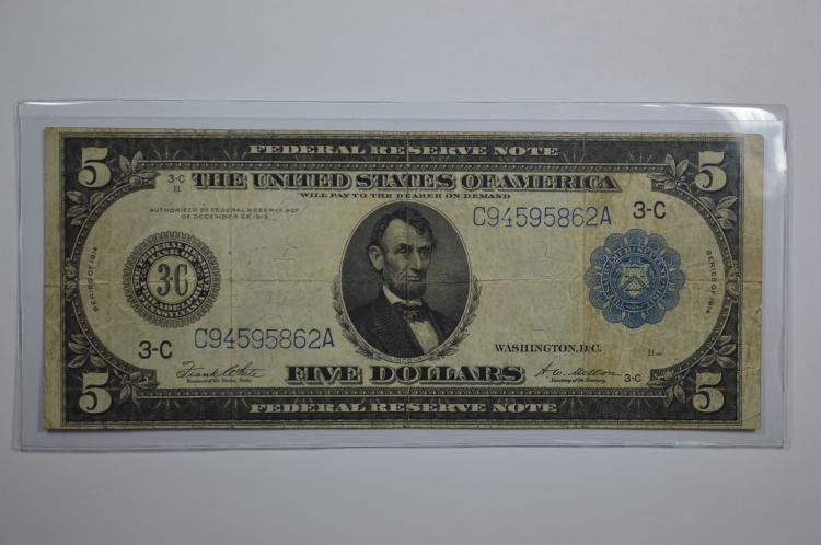 $5.00 Series of 1914 Federal Reserve Note. Fr-855a, Blue seal.