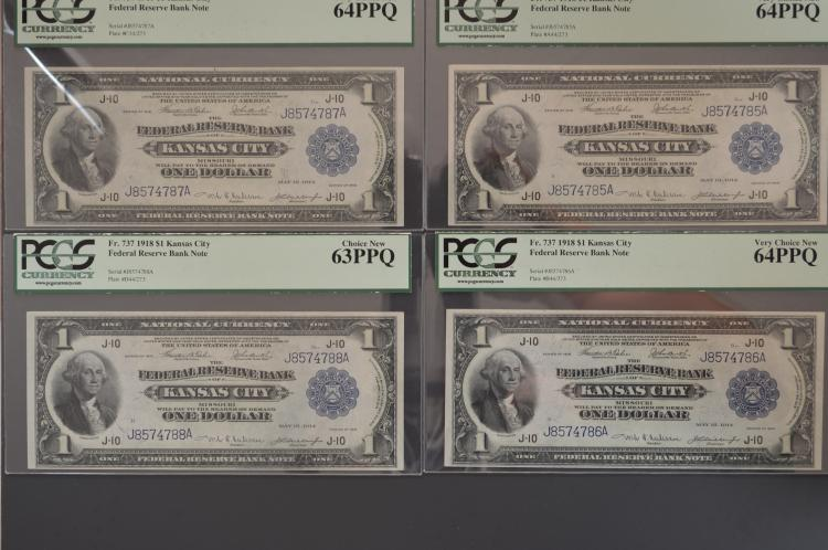 A splendid certified Cut Sheet of Four $1.00 Series of 1918 Kansas City Federal Reserve Bank Notes. Fr-737.