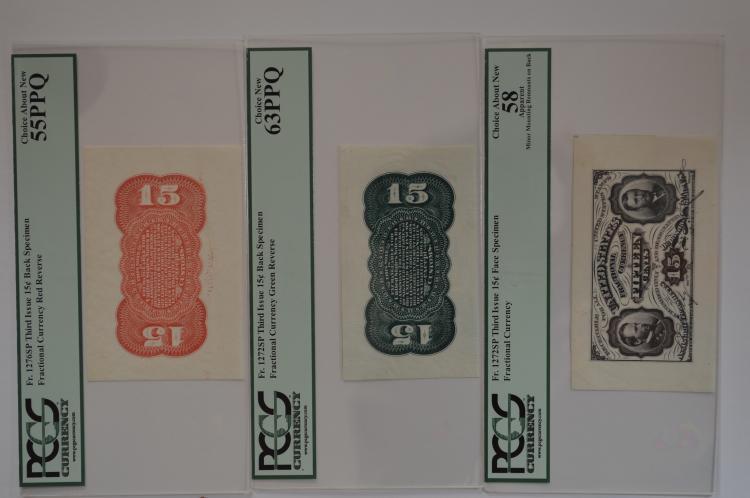 15c Grant-Sherman 3-piece Wide Margin Fractional Currency Specimen Set