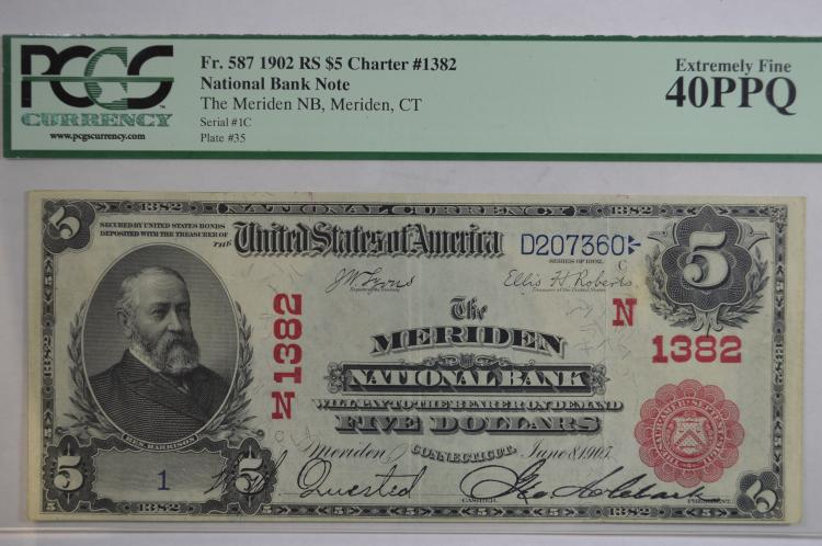 $5.00 Series of 1902 Red Seal National Bank Note, Fr-587, Charter #1382