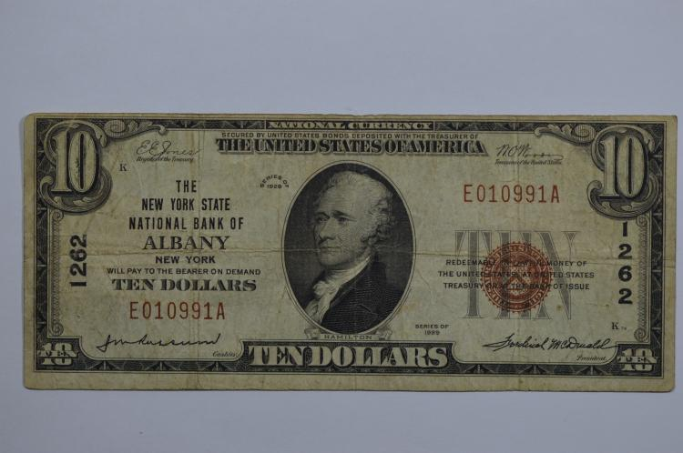 $10.00 Series of 1929 Type I National Bank Note, Fr-1801-1, Charter #1262