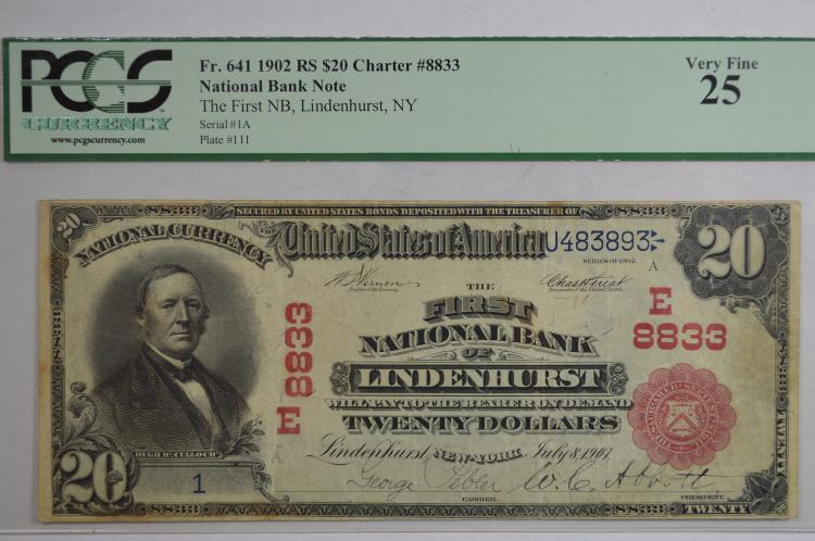$20.00 Series of 1902 Red Seal National Bank Note, Fr-641, Charter #8833