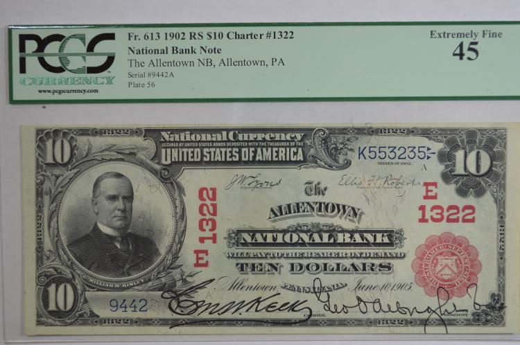 $10.00 Series of 1902 Red Seal National Bank Note, Fr-613, Charter #1322.