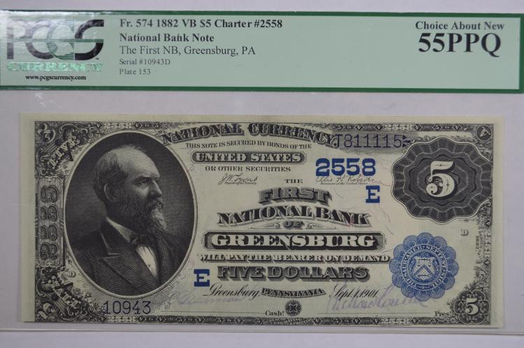 $5.00 Series of 1882 Value Back National Bank Note, Fr-574, Charter #2558.
