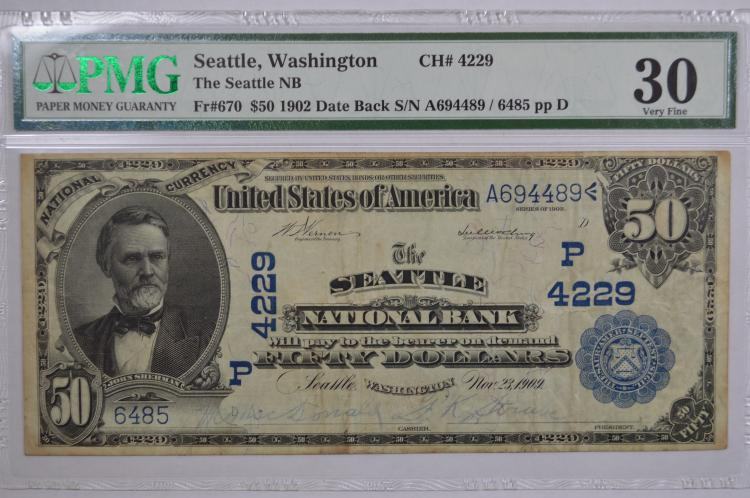$50.00 Series of 1902 Date Back National Bank Note, FR-670, Charter #4229.