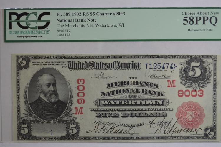 $5.00 Series of 1902 Red Seal National Bank Note, Fr-589, Charter #9003