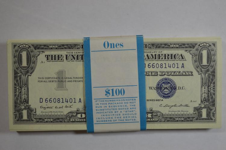 original BEP pack of Series 1957-A $1.00 Silver Certificates (Fr-1620)