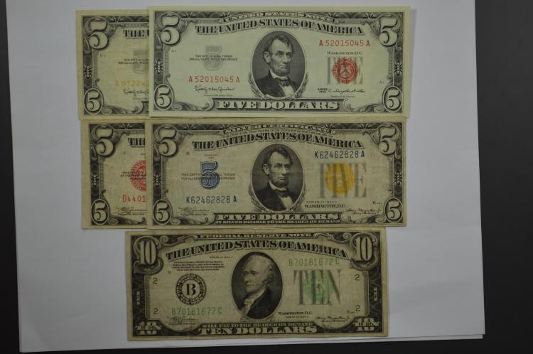 A U.S. small size currency quintet highlighted by a $5.00 Series of 1934-A North Africa Silver Certificate.