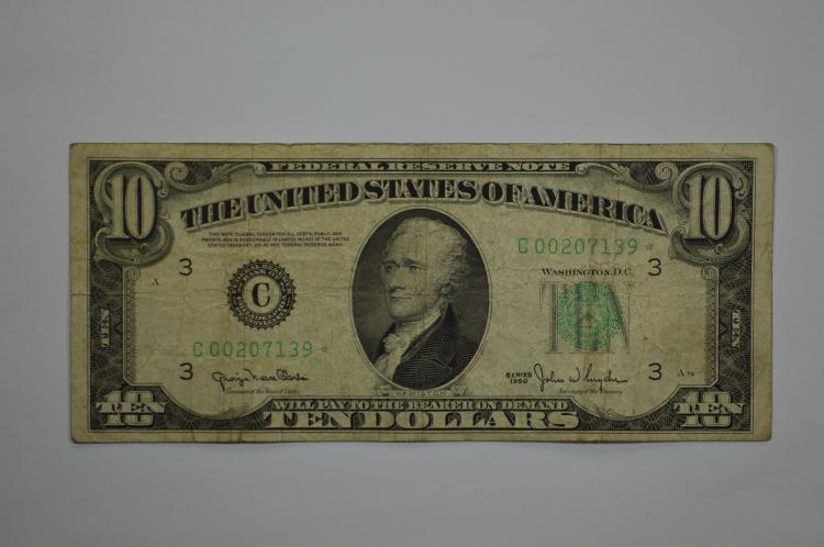 $10.00 Series of 1950 Philadelphia Federal Reserve Note. Fr-2010C*