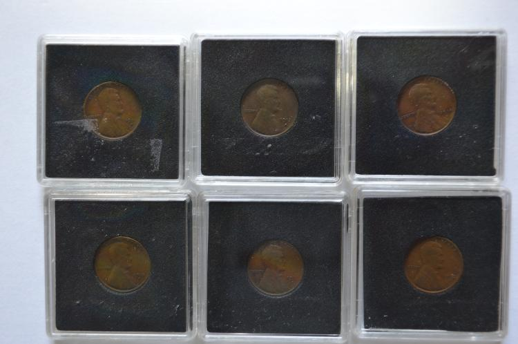 A sextet of different date semi-key San Francisco Mint Lincoln Cents