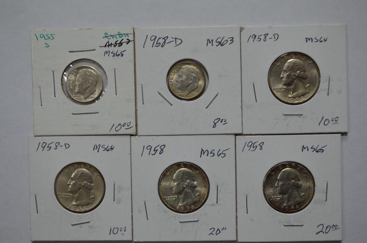 A half dozen Choice or better U.S. silver coins
