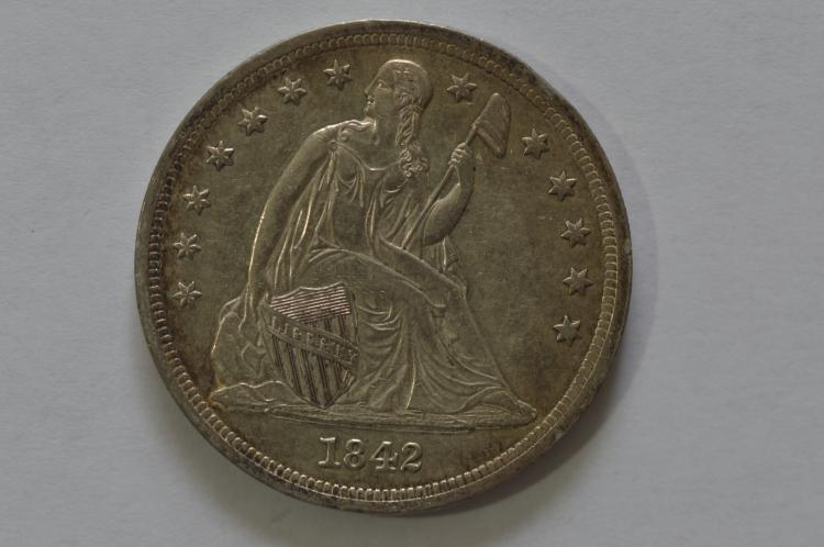 $1.00 Silver 1842 About Uncirculated