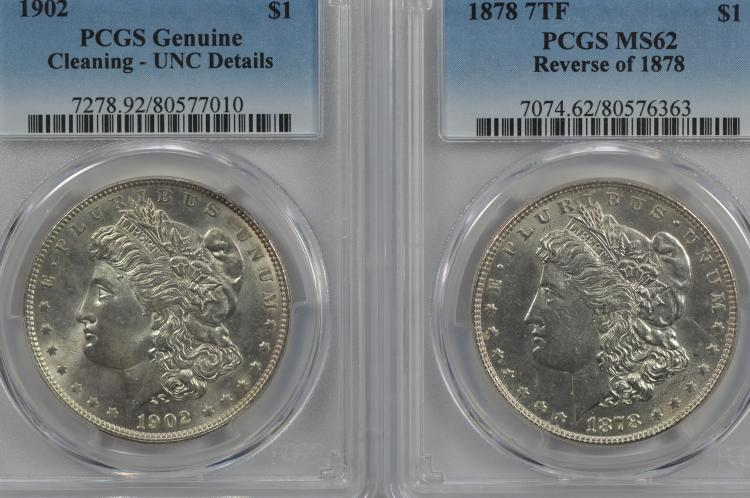 PCGS certified uncommon date Morgan Dollar duo