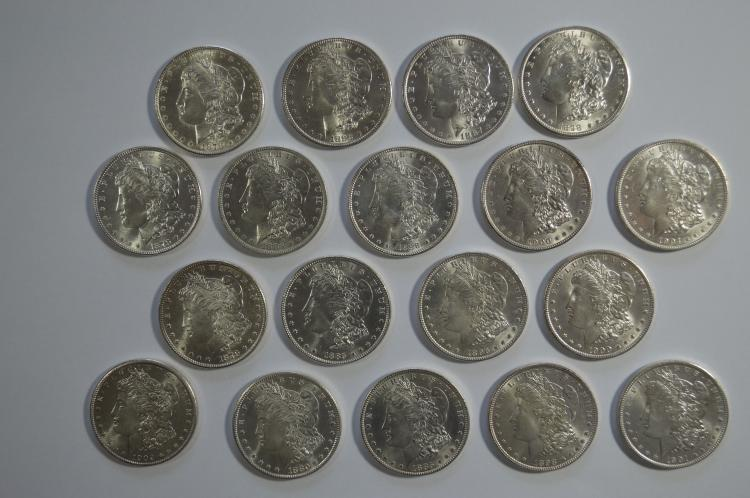 Partial set of Mint State Morgan Dollars