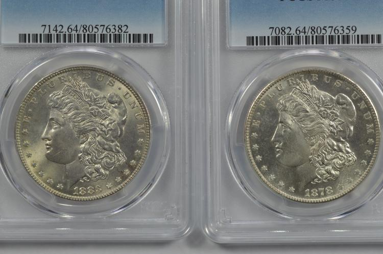 A pair of less common Very Choice certified Morgan Dollars