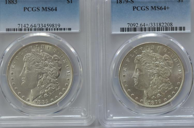 A virtual Gem Certified Morgan Dollar duo