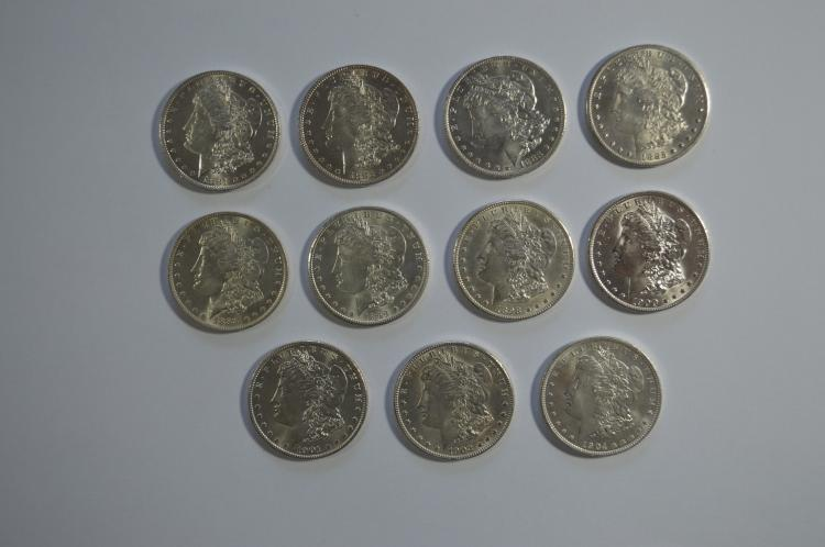 A Mint State partial set of New Orleans Morgan Dollars