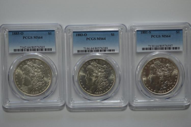 PCGS certified MS64 Morgan Dollar trio