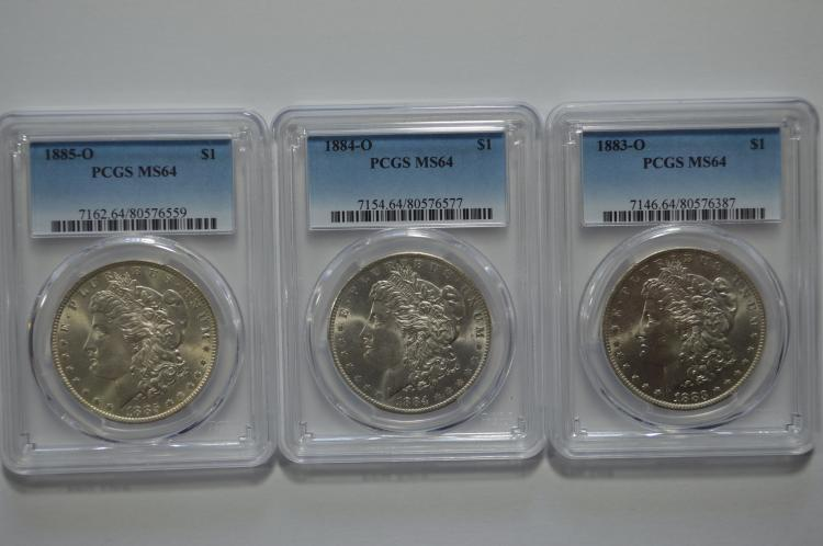 New Orleans Mint Very Choice certified Morgan Dollar threesome