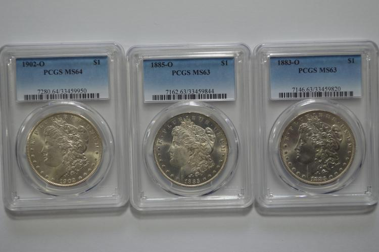 A Choice or better certified New Orleans Mint Morgan Dollar threesome