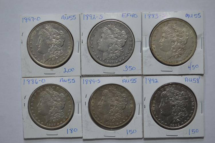 A half dozen middle to upper middle grade better date Morgan Dollars