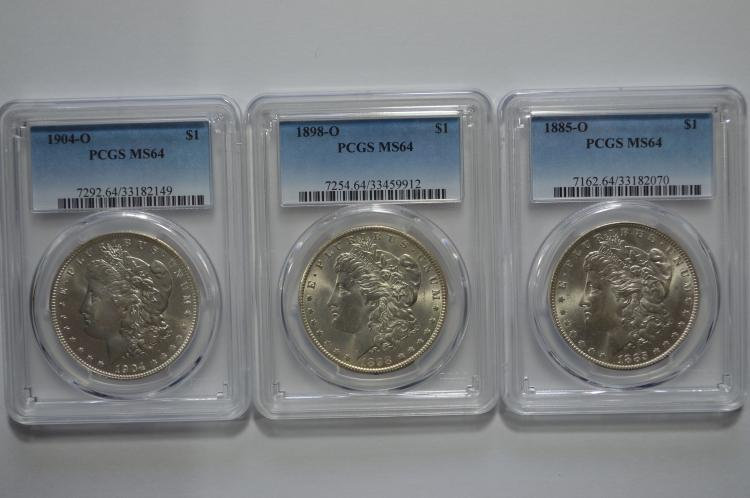 Very Choice PCGS certified New Orleans Mint Morgan Dollars