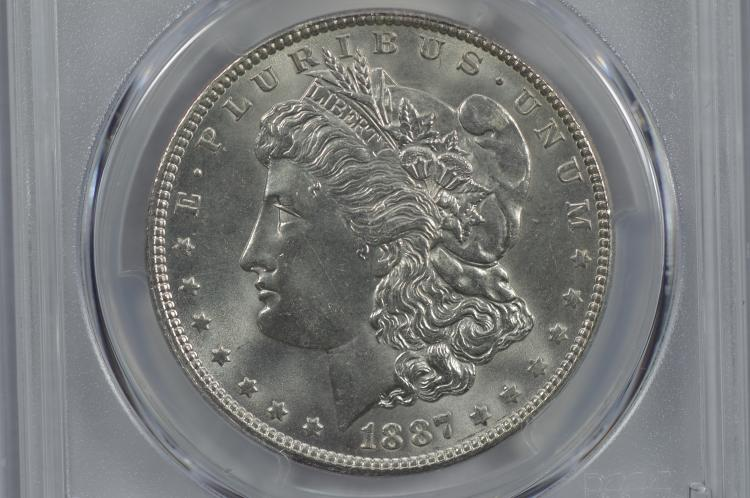 $1.00 Silver 1887 PCGS MS65.