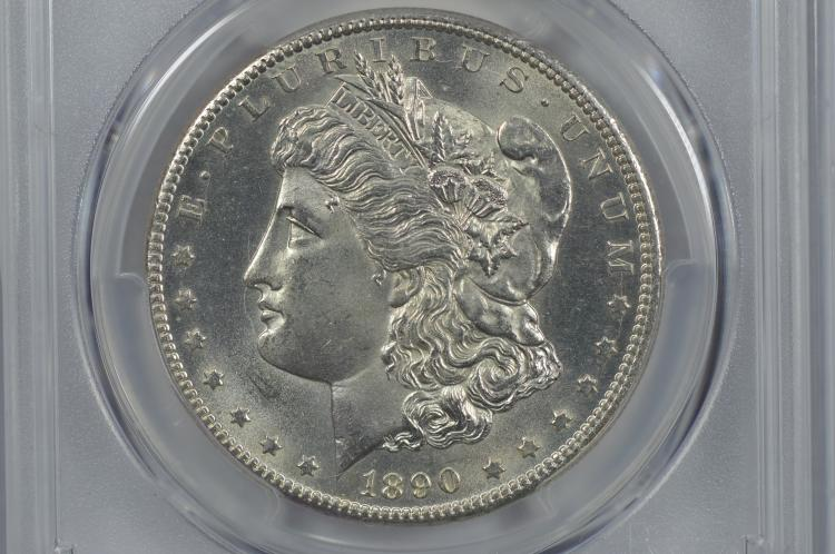 $1.00 Silver 1890-CC PCGS UNC Details, Cleaning.