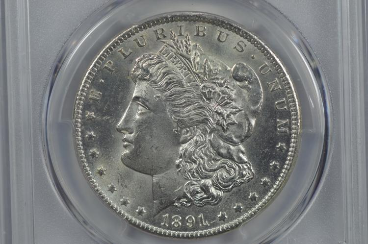 $1.00 Silver 1891-CC VAM-3 (Spitting Eagle) PCGS MS64.