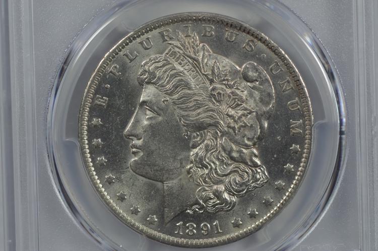 $1.00 Silver 1891-CC VAM-3 (Spitting Eagle) PCGS MS63+