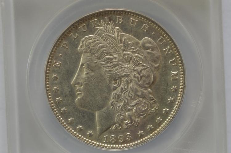 $1.00 Silver 1893 ANACS AU53
