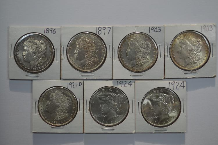 A septet of U.S. Silver Dollars