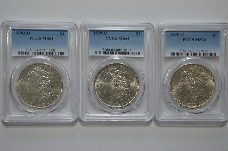A trio of late date New Orleans Mint Morgan Dollars
