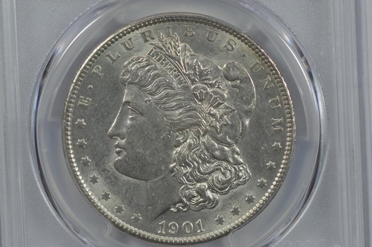 $1.00 Silver 1901 PCGS AU58.