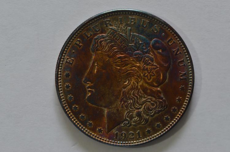 $1.00 Silver 1921 Morgan. Ch BU