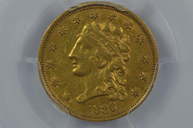 $2.50 Gold 1836 Block 8. PCGS AU55