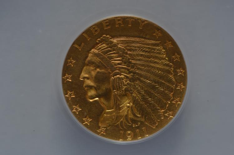 $2.50 Gold 1911 ANACS AU55