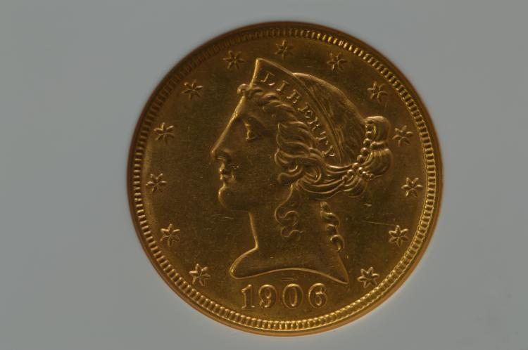 $5.00 Gold 1906-D NGC AU58