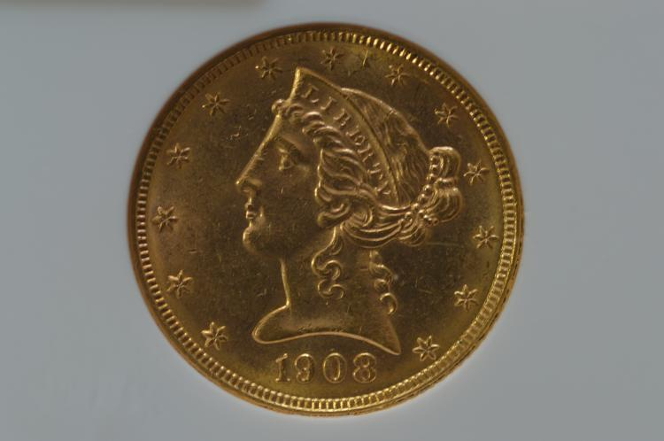 $5.00 Gold 1908 Liberty. NGC MS62