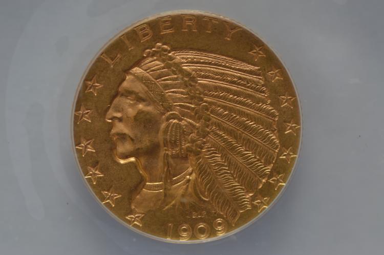 $5.00 1909-D ANACS MS62.