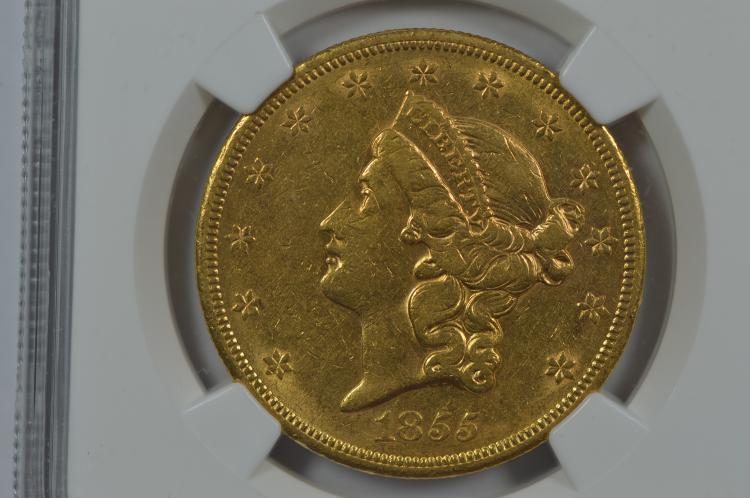 $20.00 Gold 1855-S NGC AU53