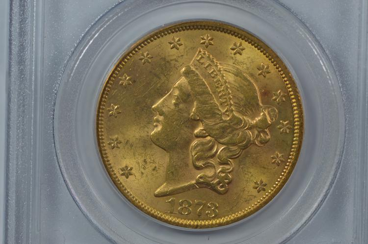 $20.00 Gold 1873 Open 3. PCGS MS62