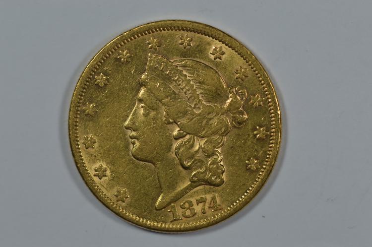 $20.00 Gold 1874 Abt Unc