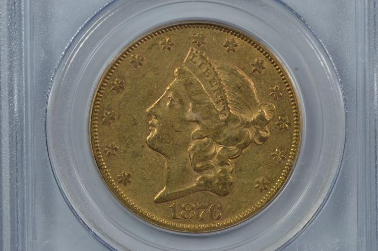 $20.00 Gold 1876-CC PCGS AU53