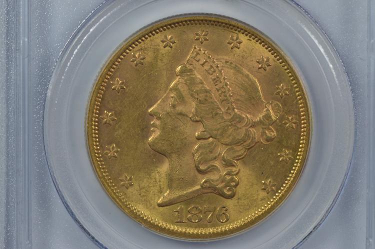 $20.00 Gold 1876-S PCGS AU58