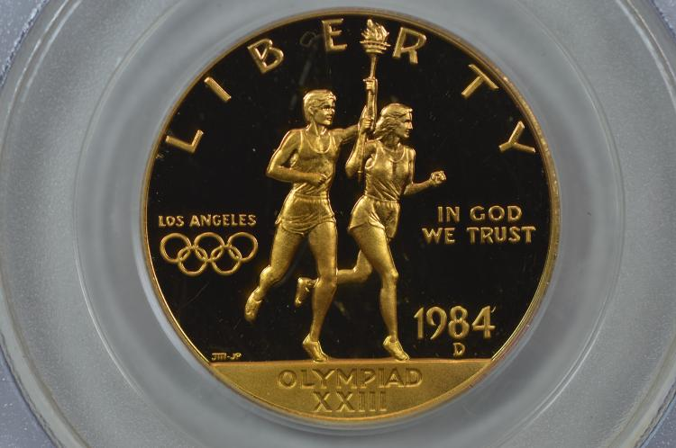 $10.00 Gold Commemorative. 1984-D Los Angeles Olympics. PCGS PF68 Deep Came