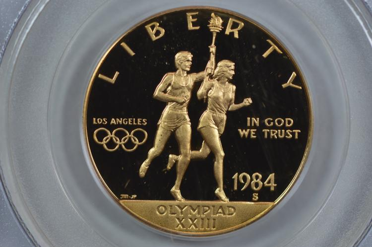 $10.00 Gold Commemorative. 1984-S Los Angeles Olympics. PCGS PF69 Deep Cameo
