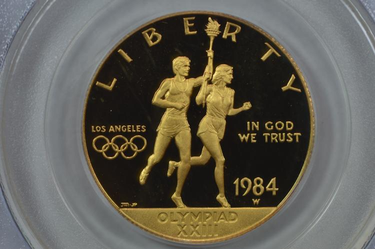 $10.00 Gold Commemorative. 1984-W Los Angeles Olympics. PCGS PF69 Deep Cameo